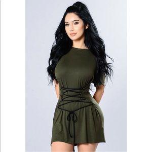 Fashion Nova All the Way Up Tunic Olive Green